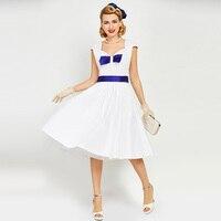 Sisjuly Women Vintage Dress Pin Up Blue Bowknot Retro Dresses Blets Summer 1950s Sleeveless A Line