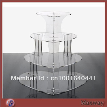 4 tiers heart shaped acrylic cupcake stand
