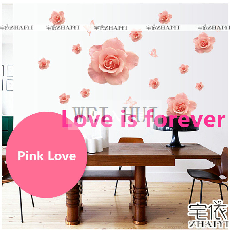 Large Size Pink Rose Flower Poems Mural Decal Wall Sticker for ...