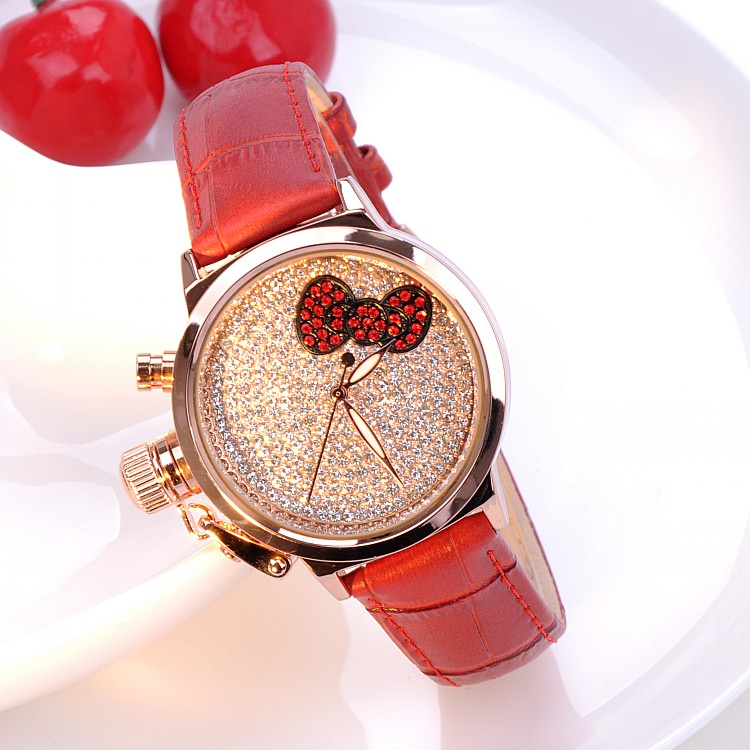 (5 Color) 2016 New Bow-Knot Design Women Full Rhinestone Watches Luxury Quartz Watch Genuine Leather Wristwatches GUOU 8801