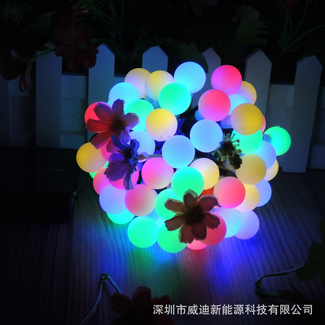 solar lamp series 60led ball lamp string christmas lights flashing