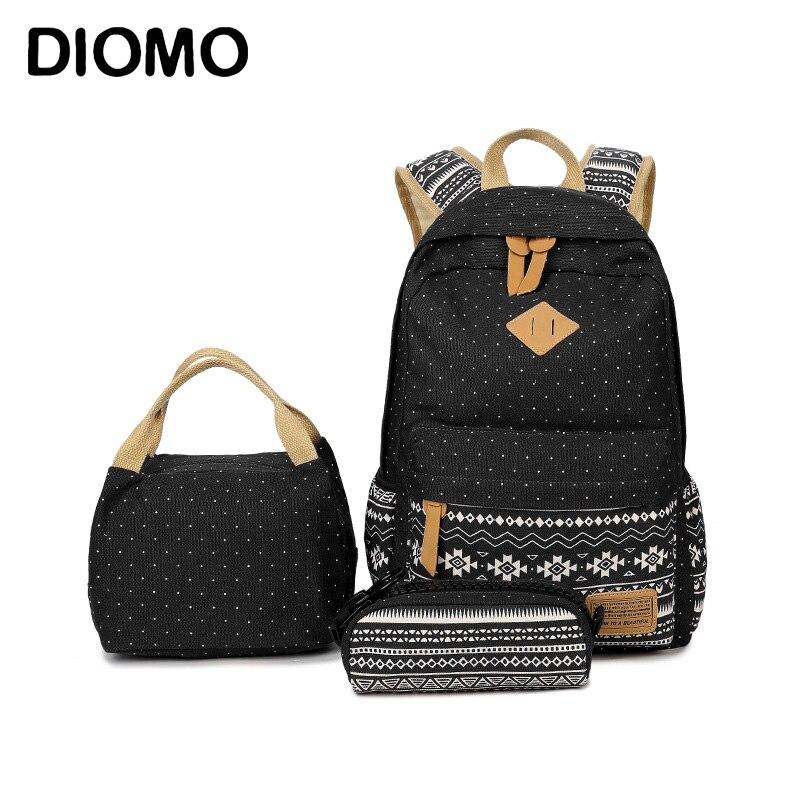 DIOMO Children's Bag Girls School Bag Set 2018 Teenage Backpack Schoolbags High Quality Backpack Book Bag 3 Pieces/Set
