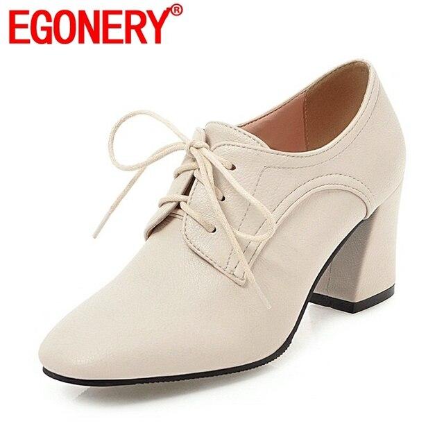 EGONERY donne di buona qualità scarpe tacchi alti scarpe casual lace up ufficio delle signore di autunno della molla grande formato nuovo stile quadrato pompe di punta
