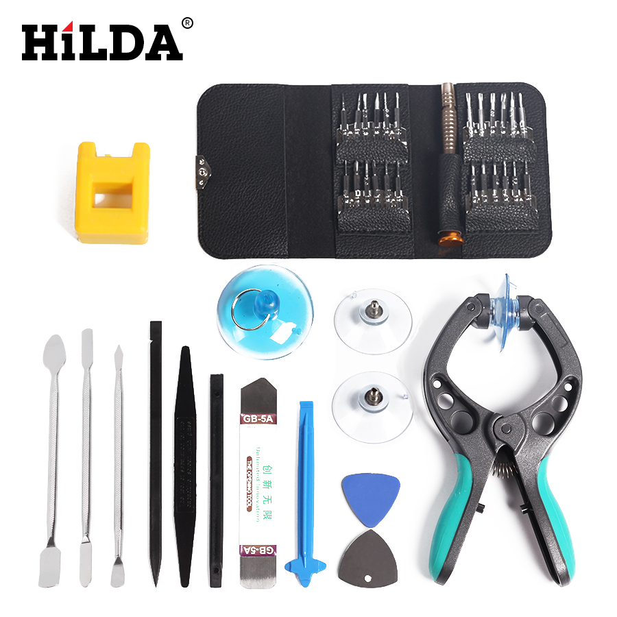 HILDA Disassemble Tool Set Mobile Phone Screen Opening Pliers Repair Tools Kit Screwdriver 30 in1 all opening repair tools phone disassemble tools set kit for htc tablet pc for iphone professional electronic repair tool