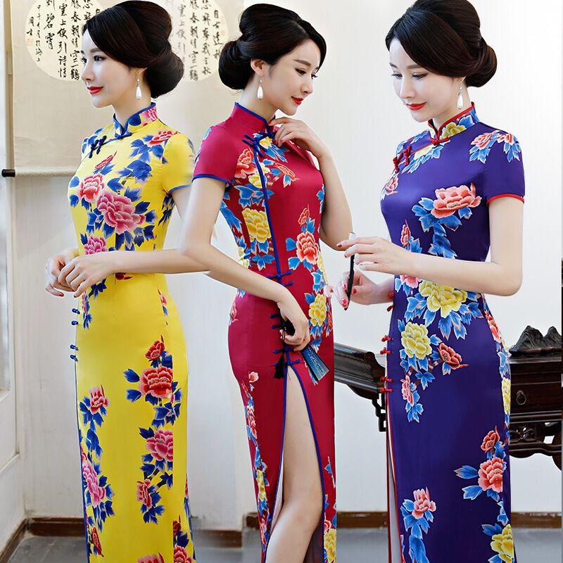 Taille L Femmes Jaune Mince De Mode 8372 Robes Chinois Xl M Xxl Xxxl 52899 Style À 8374 8373 Robe D'été Arrivée Qipao Nouvelle Rayonne Long Cheongsam vrvwaqU
