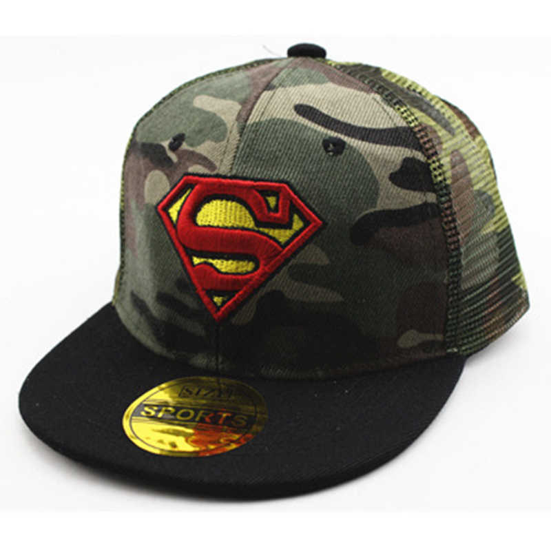 a31f9f6c0470ae ... Batman Captain America Spiderman Lightning Camouflage Baseball Cap For Kids  Boys Girls Hip Hop Caps Camo ...