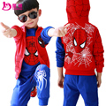 New fashion spring child set 3pcs children's clothing Spider-man spring and autumn child sweatshirt sport suits kids clothes2-14