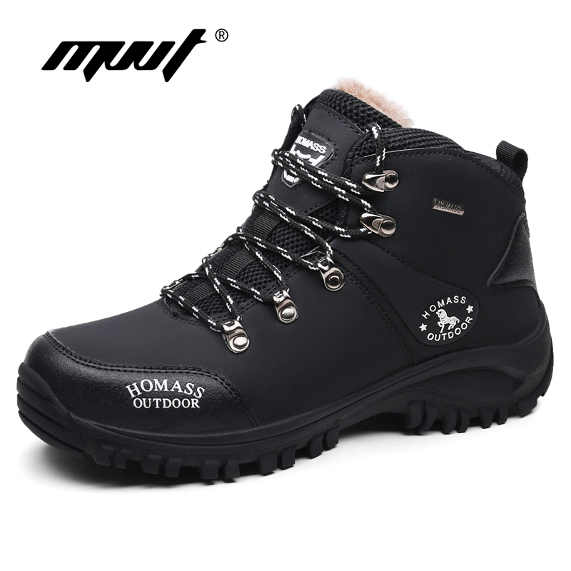 цена на New Men Boots for Men Winter Snow Boots Warm Plush Lace Up Work Safety ankle boots outdoor waterproof Men Sneakers shoes