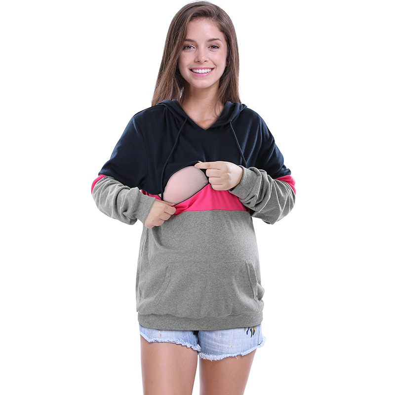 Fashion long sleeved breastfeeding hoodie shirt sweatshirt pregnant women T shirt breastfeeding casual autumn clothes