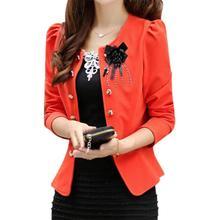 5 x (women summer style clothing outerwear slim women coat jacket feminine women blazer Orange 2XL