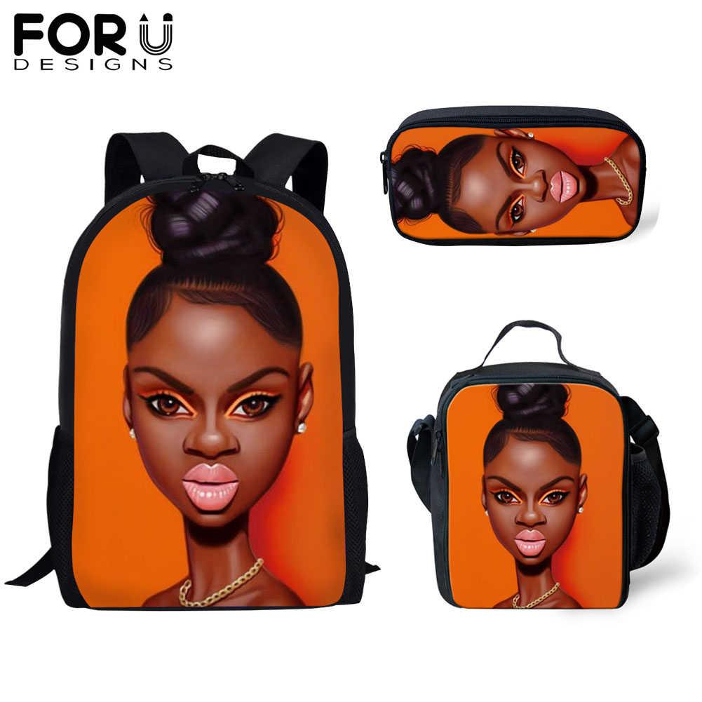 FORUDESIGNS حقيبة المدرسة 3 قطعة للفتيات طالب الأفريقي الأسود فتاة الفن الكتب مجموعات النساء الاطفال أنيمي دفتر حقيبة Daypack حقيبة