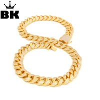 THE BLING KING 20mm CZ Cuban Chain & Bracelet Set Gold, Silver Plated Hip Hop Iced Out Cubic Zirconia Shiny Copper Jewelry