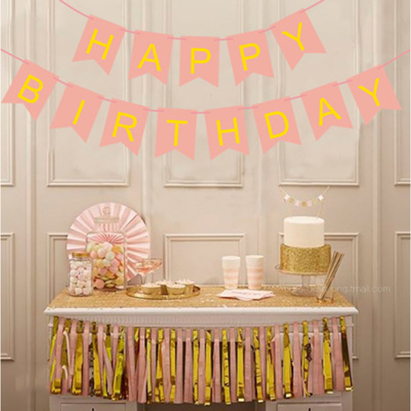 1pcs Baby Party Toys Hat Pastel Pink Happy Birthday Banner Hanging Toy Gold Letter Photo Prop Bunting Garland Toys For Children