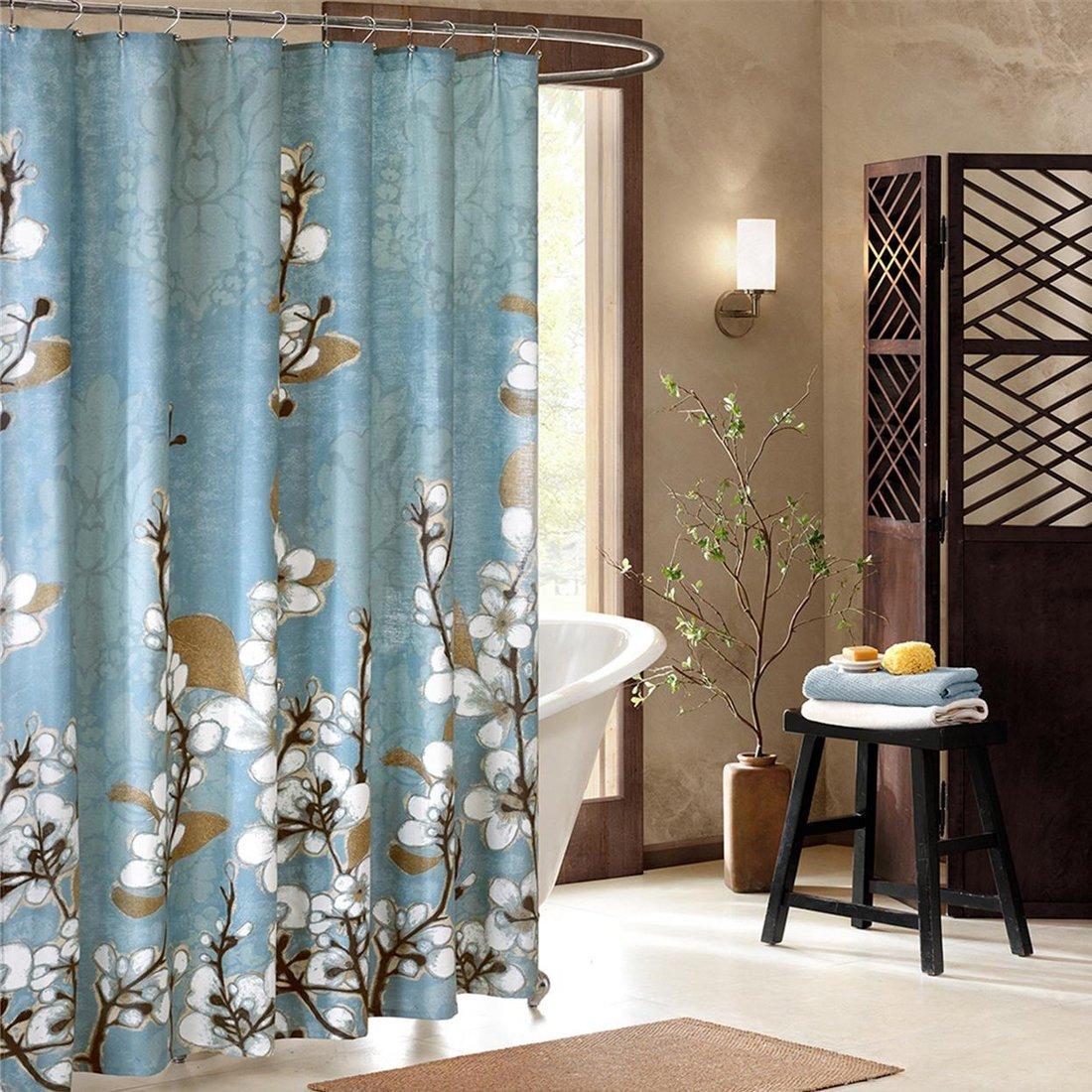 Hanakotoba синий душ Шторы, цветок полиэстер плесени, устойчива, растения для Ванная комната, Цветочный, принт Водонепроницаемый душ Шторы - 4