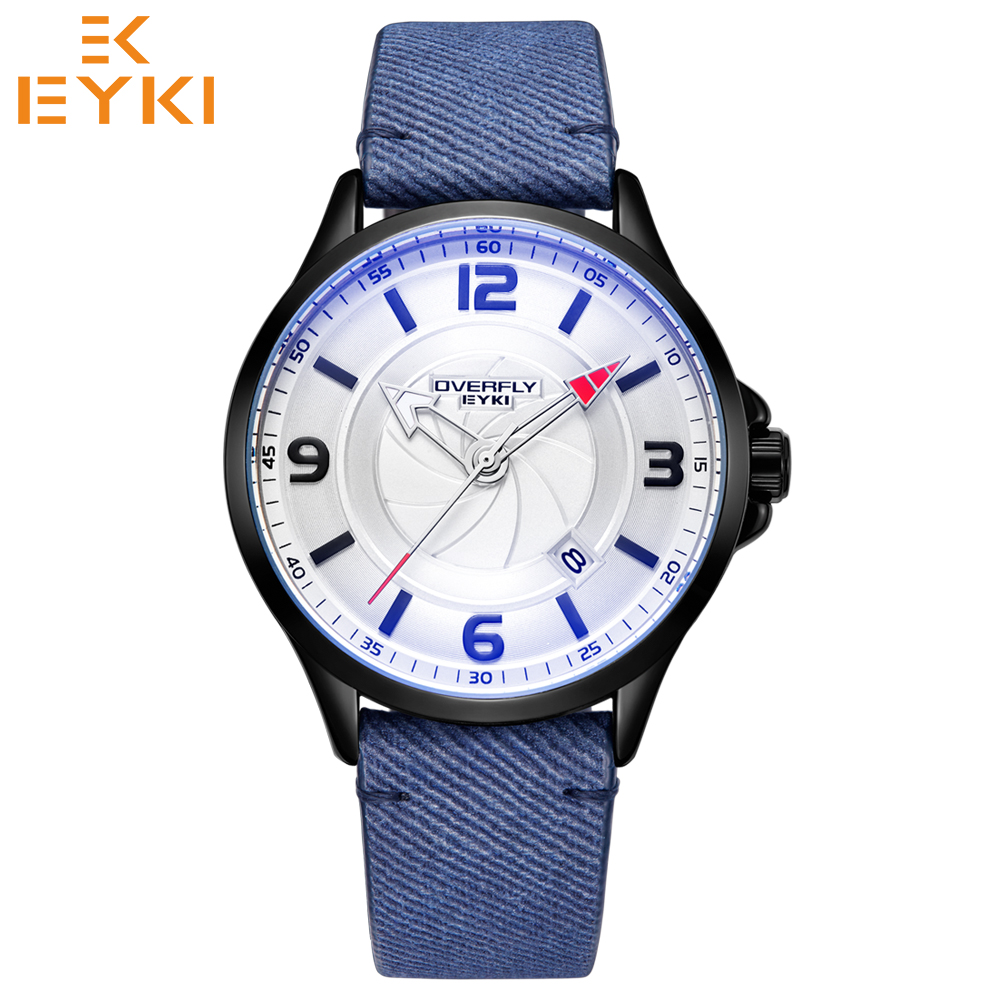 EYKI brand new men luxury stylish sport watches man day calendar army quartz wristwatches luminous hands clock relogio masculino