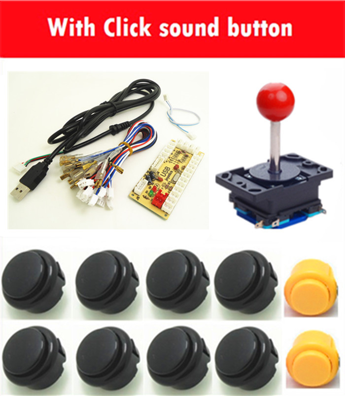 1 kit for PC controller with joystick and click sound buttons  USB to Jamma arcade games, Multicade Keyboard Encoder arcade joystick gamepad kit 800 games in 1 video tv jamma 2 joystick vga hidmi metal double stick arcade console with 2players