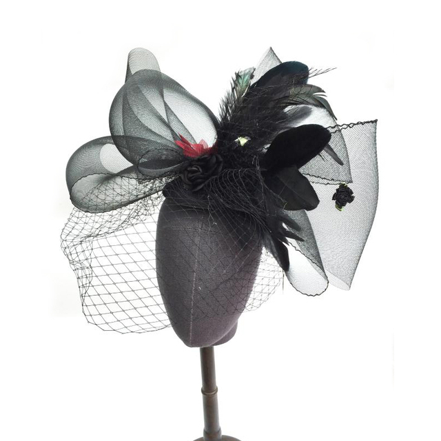Fashion Women Head Piece Hair band Fascinator Feather Mesh Party Bridal Veil Net Mini Top Hat Custom-made Drop Shipping