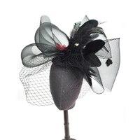 Fashion Women Head Piece Hair band Fascinator Feather Mesh Party Bridal Veil Net Mini Top Hat Custom made Drop Shipping