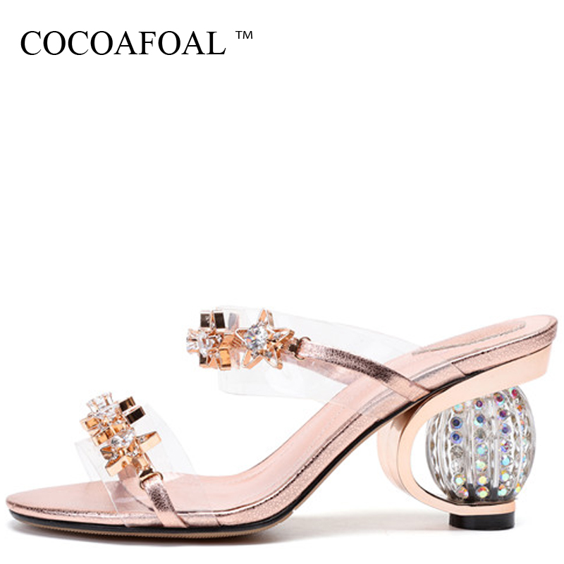 COCOAFOAL Womens Gold Rhinestone Slides Gray Transparent Slippers Summer Genuine Leather Clear Heels Crystal Sandbeach Slides COCOAFOAL Womens Gold Rhinestone Slides Gray Transparent Slippers Summer Genuine Leather Clear Heels Crystal Sandbeach Slides
