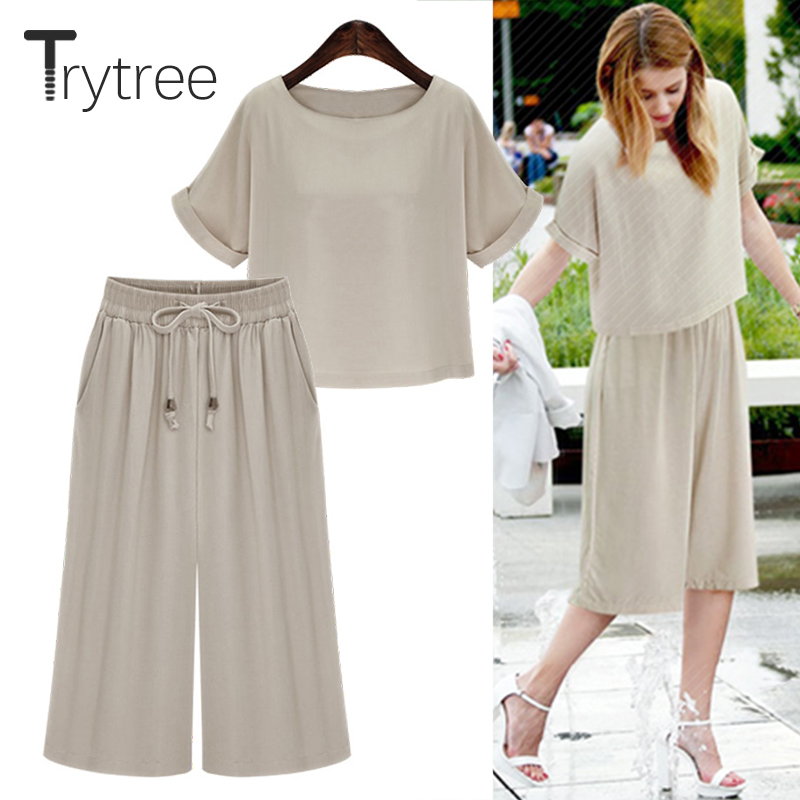 Trytree Summer Autumn Women Top Two Piece Set Casual Solid Tops + Pants Top Female Office Suit Set Women Costumes 2 Piece Set