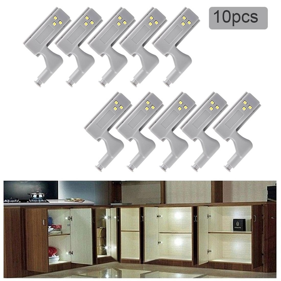 10pcs Universal Under Cabinet Light 0.25W Inner Sensor Light LED Hardwar Kitchen Bedroom Living Room Cupboard Wardrobe Light