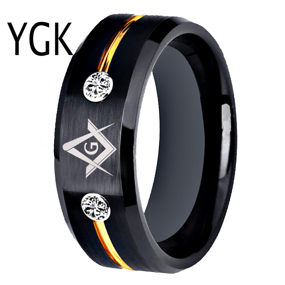 Tungsten Carbide Rings Vacuum Plating Black Golden Line With White Stones Mason Masonic Ring Anniversary Gift