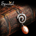 Special New Rose Color Pearl Necklaces and Pendants Gorgeous Long Necklaces For Women Free Shipping XL1411136