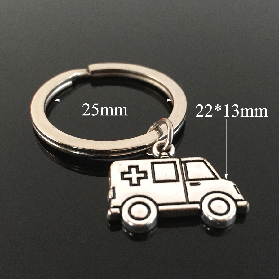 Fashion Jewelry Personality Drive Safe Car Keyring Ambulance Pendant Keychain For Men Doctor Nurse Friends Alloy Gift Key Chain