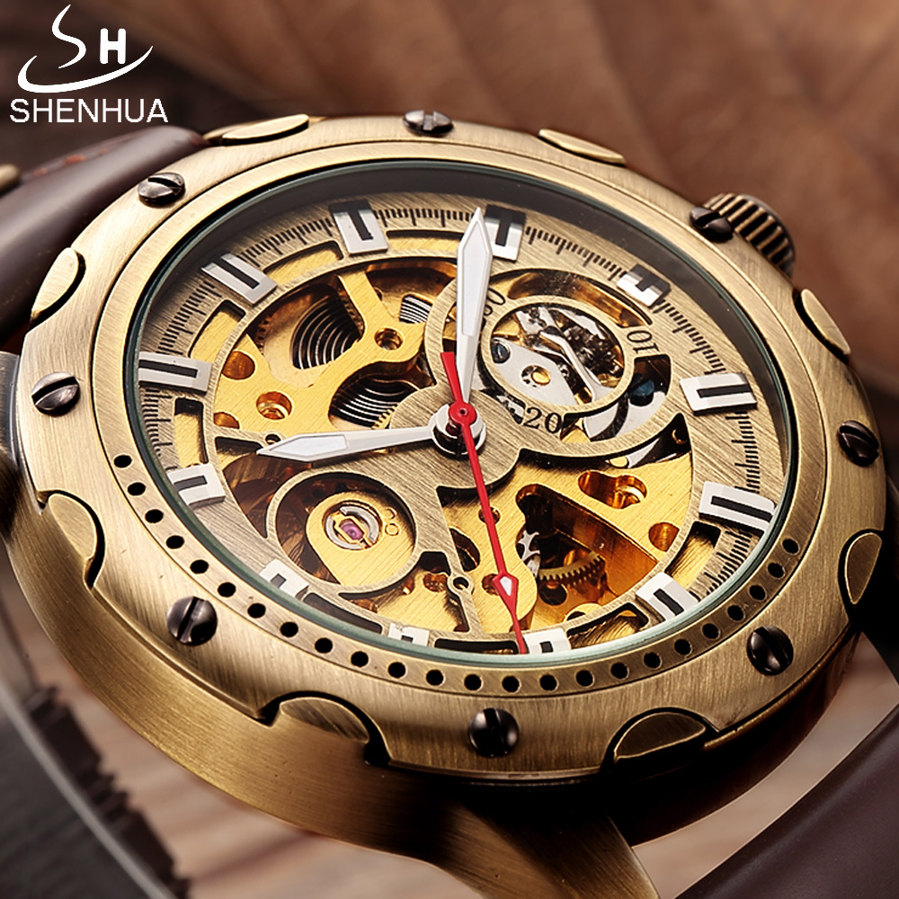 SHENHUA Retro Bronze Skeleton Mechanical Watch Men Automatic Watches Sport Luxury Top Brand Leather Watch Relogio Masculino shenhua automatic mechanical tourbillon watches men top brand luxury leather band transparent skeleton watch relogio masculino