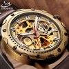 SHENHUA Retro Bronze Skeleton Mechanical Watch Men Automatic Watches Sport Luxury Top Brand Leather Watch Relogio