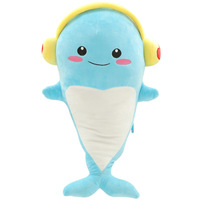35CM One Piece Cute Dolphin With Headphone PP Cotton Stuffed Plush Toy Doll Creative Kids Soft Sleeping Whale Brinquedo 3 Colors
