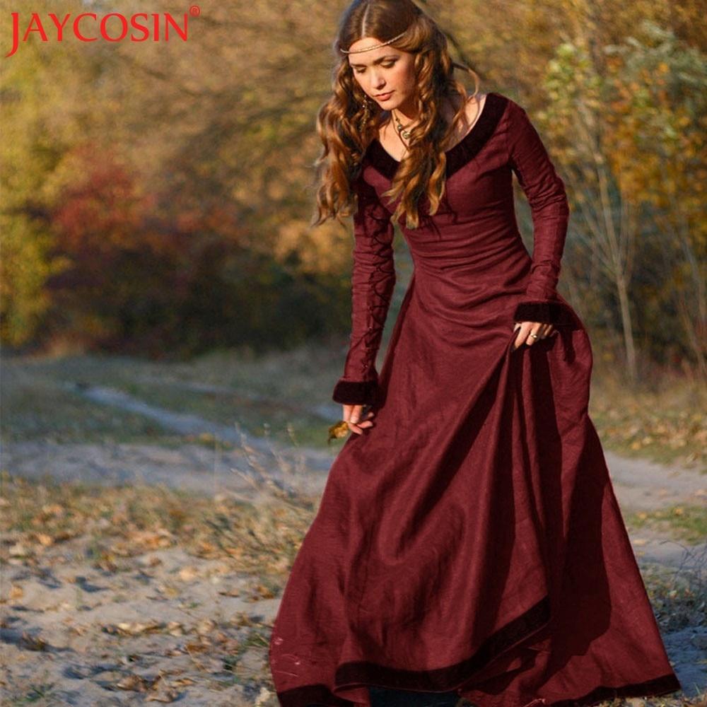 Jaycosin Dress Women Sexy Summer Vintage Medieval Plus Size Costume