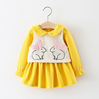 2017 New Fashion Baby Girls Dress Sping Autumn Long Sleeve Princess Dress Kids Clothes Cute Rabbit