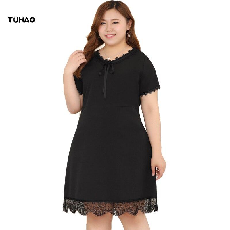 TUHAO Women Large Size 10XL 8XL Elegant Lace dresses summer BLACK Bow Tie Dress Empire Sweet