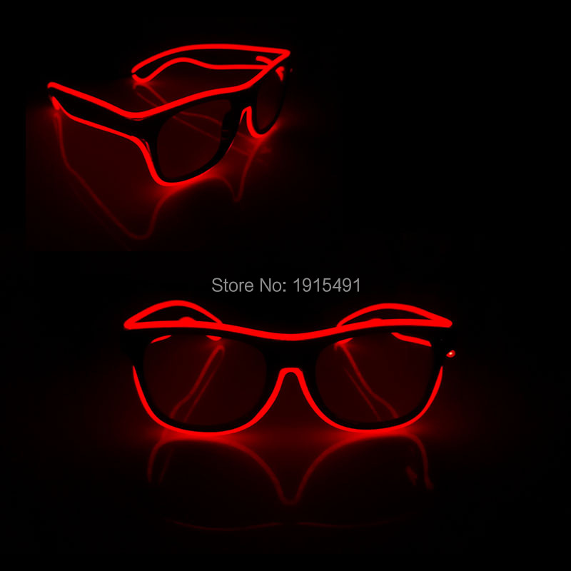 New Design Cool Sparkling Wedding decor LED Cold Light Sunglasses Novelty Lighting Fashionable EL wire Eyeglasses for Home Party
