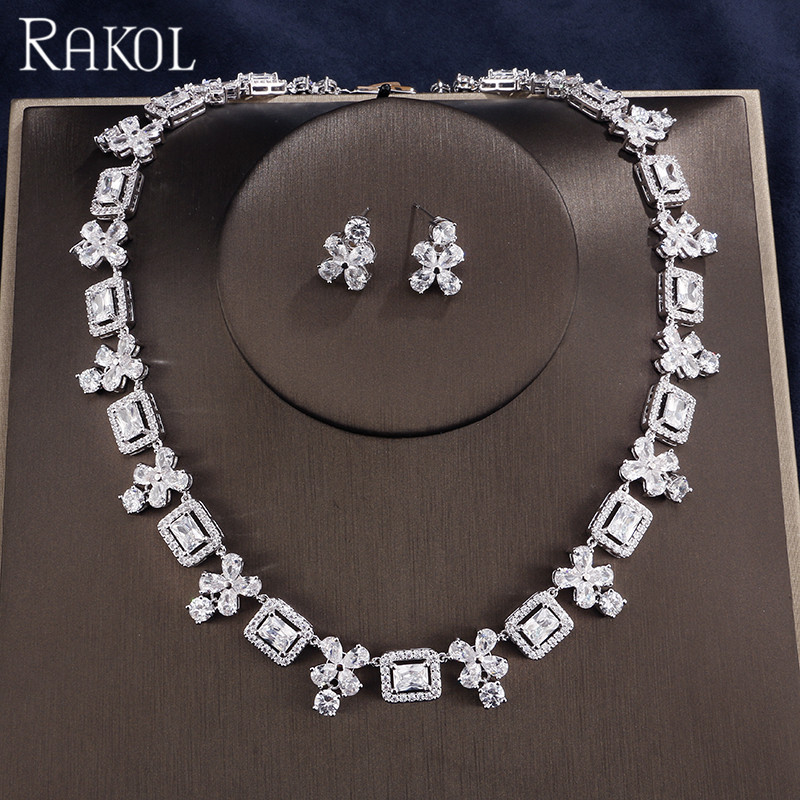 RAKOL Vintage Red Cubic Zircon Flowers Fashion Wedding Engagement For Women Bridal Necklace And Earring Sets RAKOL Vintage Red Cubic Zircon Flowers Fashion Wedding Engagement For Women Bridal Necklace And Earring Sets