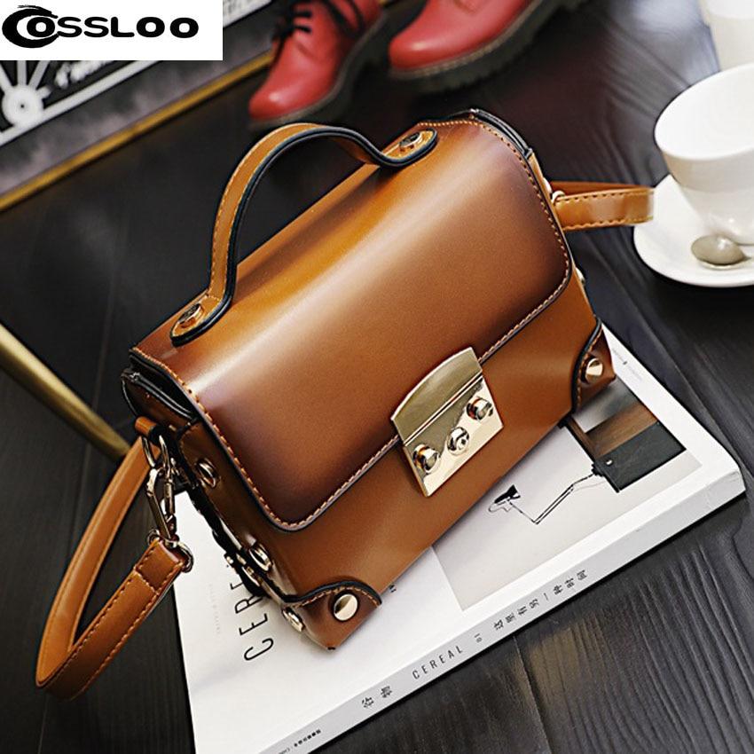 ФОТО COSSLOO New Arrival Designers Brand Woman Bag Leather Handbags Vintage Crossbody Bags For Women Shoulder Bags Elegant Bolsas