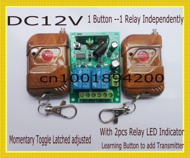 12V 2CH Remote Control Switch 2Transmitter 1Receiver 1CH 1Button Independently 315/433MZH With Relay Indicator Learning Code 315 433mhz 12v 2ch remote control light on off switch 3transmitter 1receiver momentary toggle latched with relay indicator