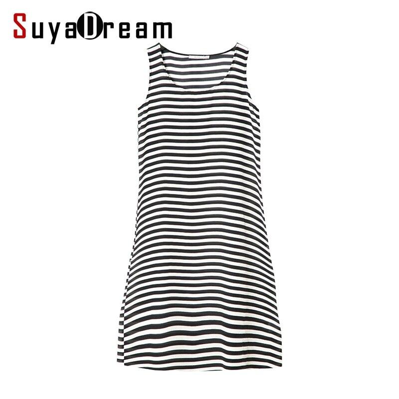 Women stripe dress 100% Natural silk Sleeveless Summer dress 2018 New Vestides black white stripes q01 fashionable stripe pattern milk silk skinny dress white black m