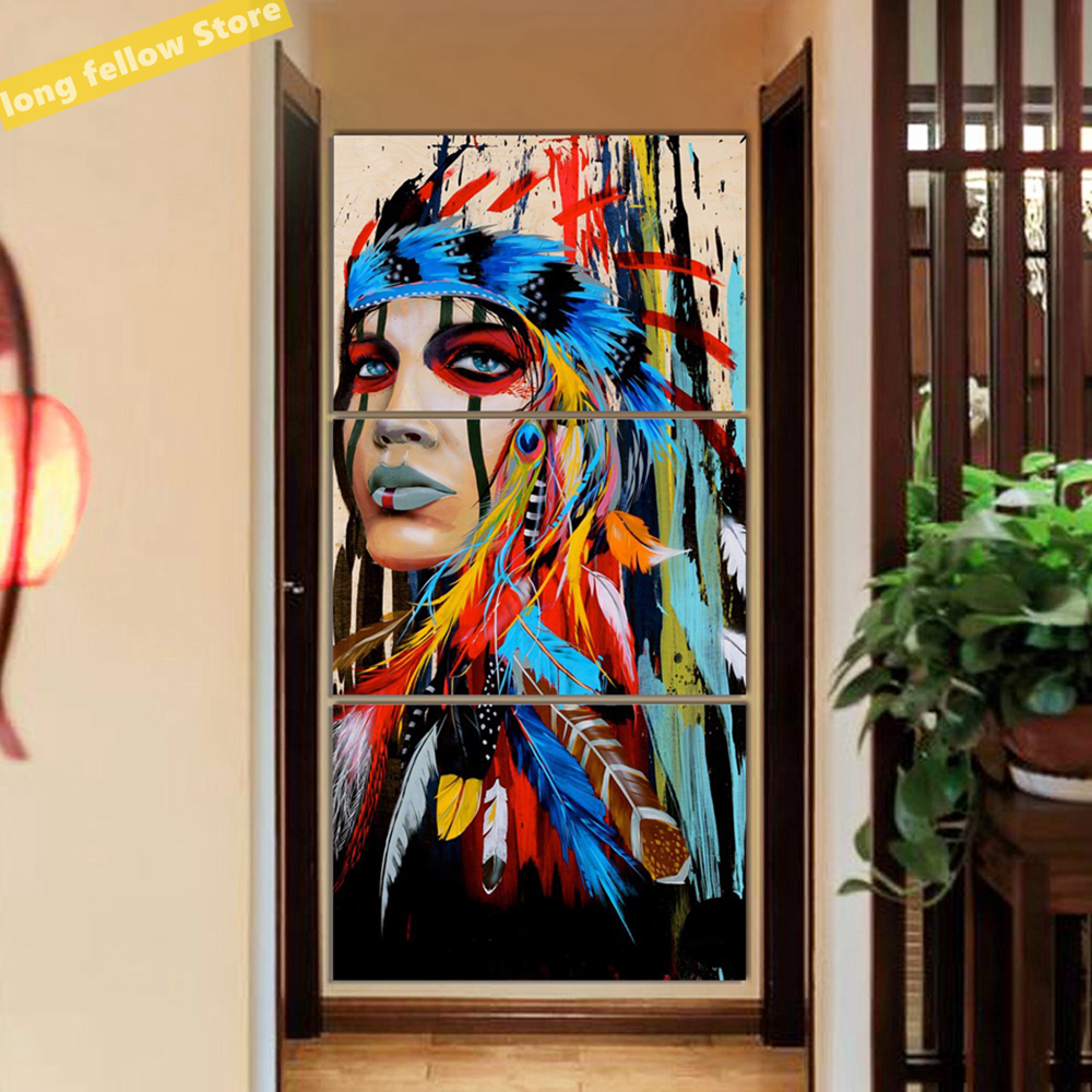 Beauty Abstract Feathere Girl Woman Colorful Portrait Canvas Painting for Home Living Room Bar Gym Wall Decor Drop Shipping(China)