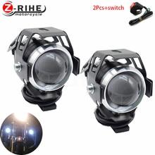 Universal 1/2 PCS 125W motorcycle headlights auxiliary lamp U5 led motorbike spotlight accessories 12V moto DRL spot head lights