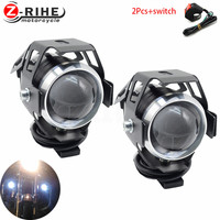 Universal 2PCS 125W Motorcycle Headlights Auxiliary Lamp U5 Led Motorbike Spotlight Accessories 12V Moto DRL Spot