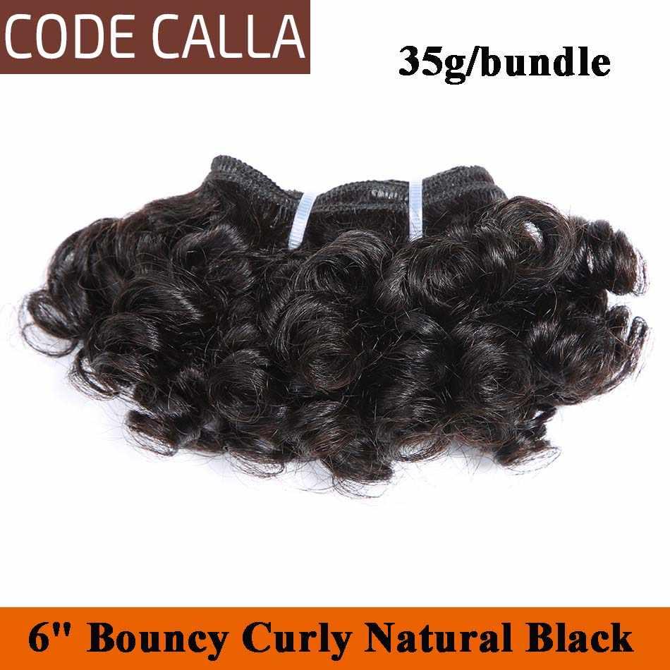 Кодовый Калла коротконарезной двойной нарисованный надувной кудрявый Remy бразильские человеческие волосы переплетения пучки натурального цвета 6 штук могут сделать один парик