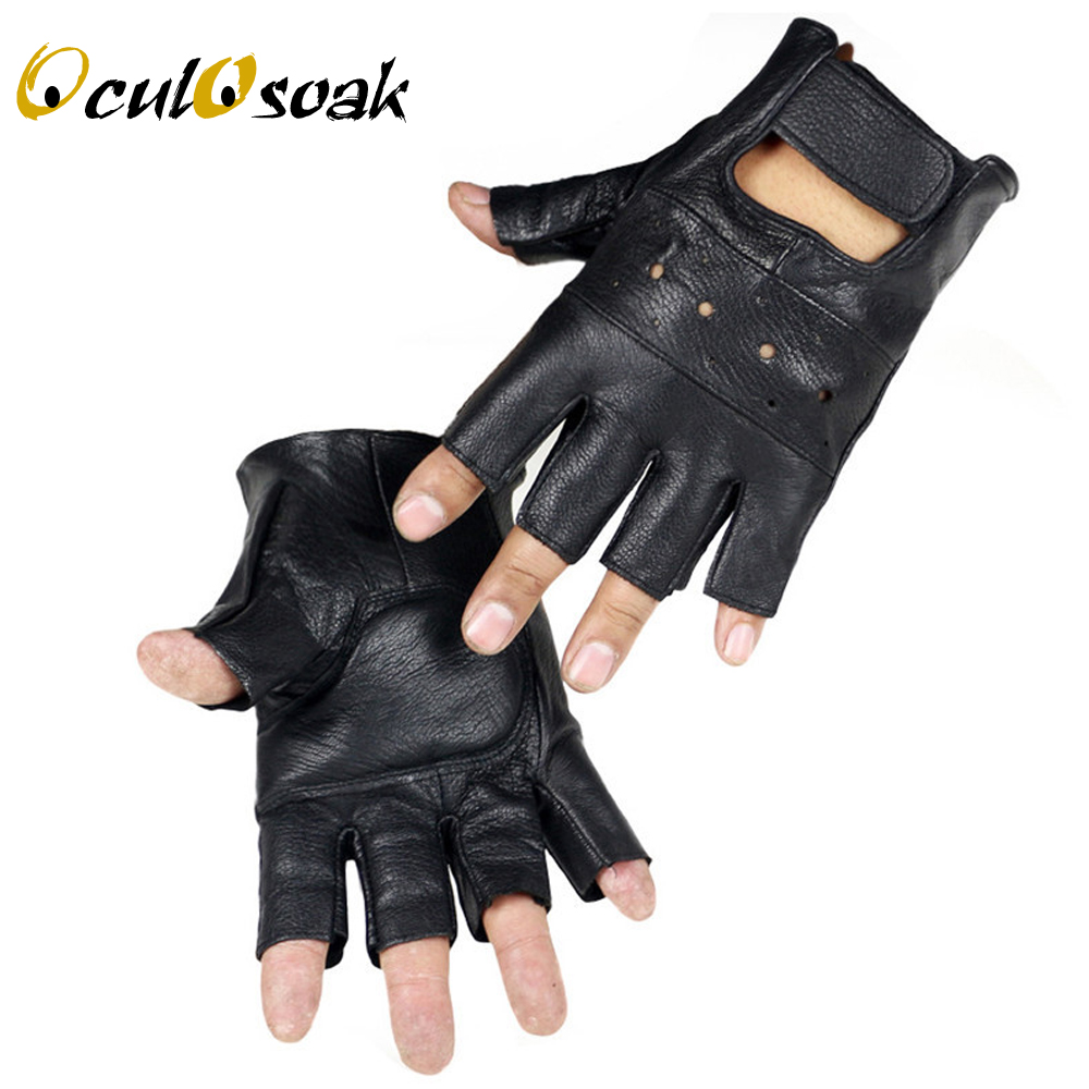 2019 New Style Mens Sheep Leather Driving Gloves Fitness Gloves Half Finger Tactical Gloves Black Guantes Luva G002