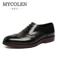 bdcf5c4a02 MYCOLEN New 2017 Oxford Business Shoes Social Party Men Dress Shoes Leather  Office Shoes Black Brown