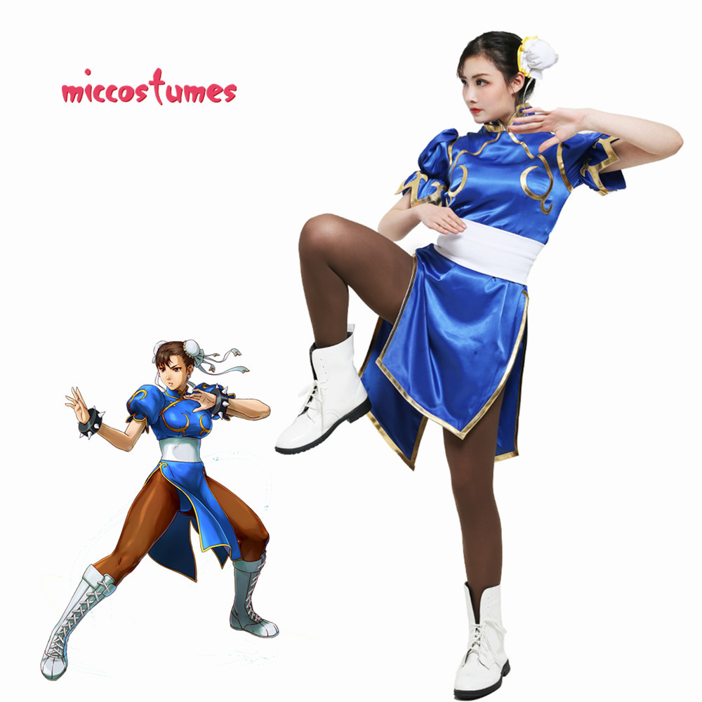 Chun Li Cosplay Costume For Adult Blue Cheongsam Halloween Party Dress Women Outfit