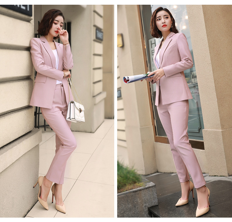 2019 Formal Elegant Women's Blazers Trouser Suits office Ladies Pink Gray Stripe Plaid office Pants suits for women 2 Piece sets