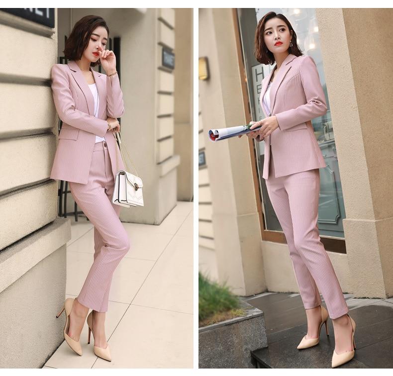 2019 Formal Elegant Women's Blazers Trouser Suits office Ladies Pink Gray Stripe Plaid office Pants suits for women 2 Piece sets