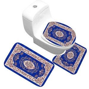 Image 3 - Bath Mat 3 Piece Set Classical Pattern Toilet Cover Foot Pad Non slip Absorbent Bathroom Door Mat Flannel Soft Bathr Rug Carpet