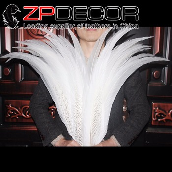 Leading Supplier ZPDECOR 26-28inch(65-70cm) 10pieces/lot Wonderful Bleached White Silver Pheasant Feathers for Carnival Decor